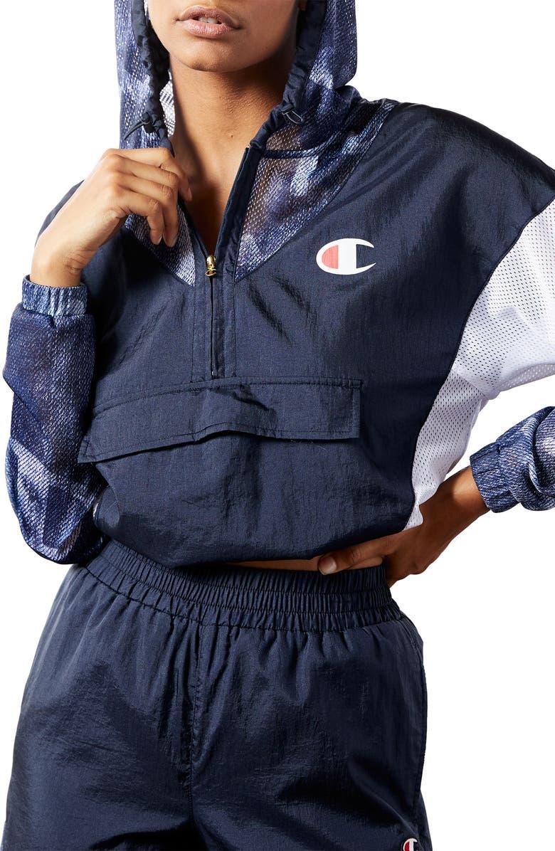 CHAMPION Nylon Warm-Up Jacket, Main, color, NAVY/ DENIM OVERLAY