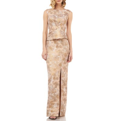 Kay Unger Yasmine Birds Of Paradise Peplum Column Gown, Metallic