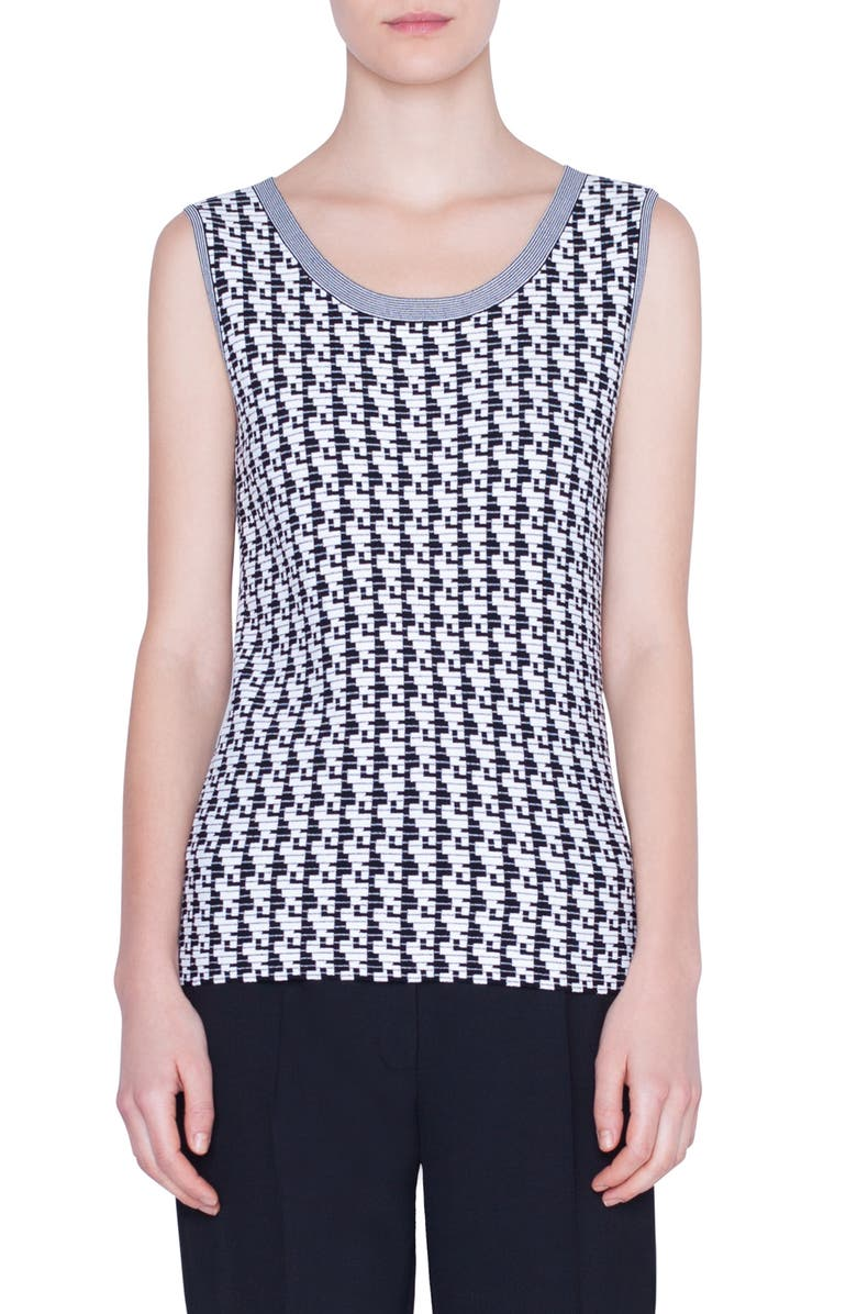 AKRIS PUNTO Soundboard Pattern Sweater Tank, Main, color, BLACK/ CREAM