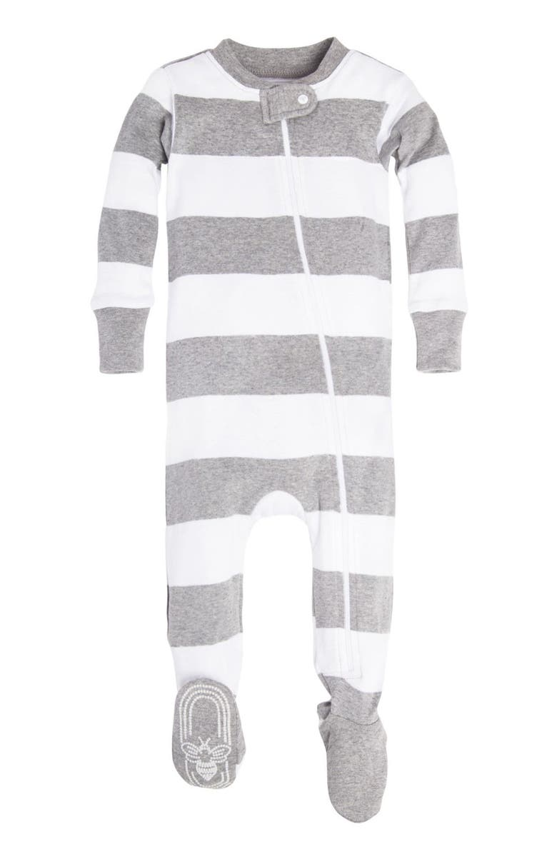 BURT'S BEES BABY Burt's Bees Rugby Stripe Fitted One-Piece Pajamas, Main, color, HEATHER GREY