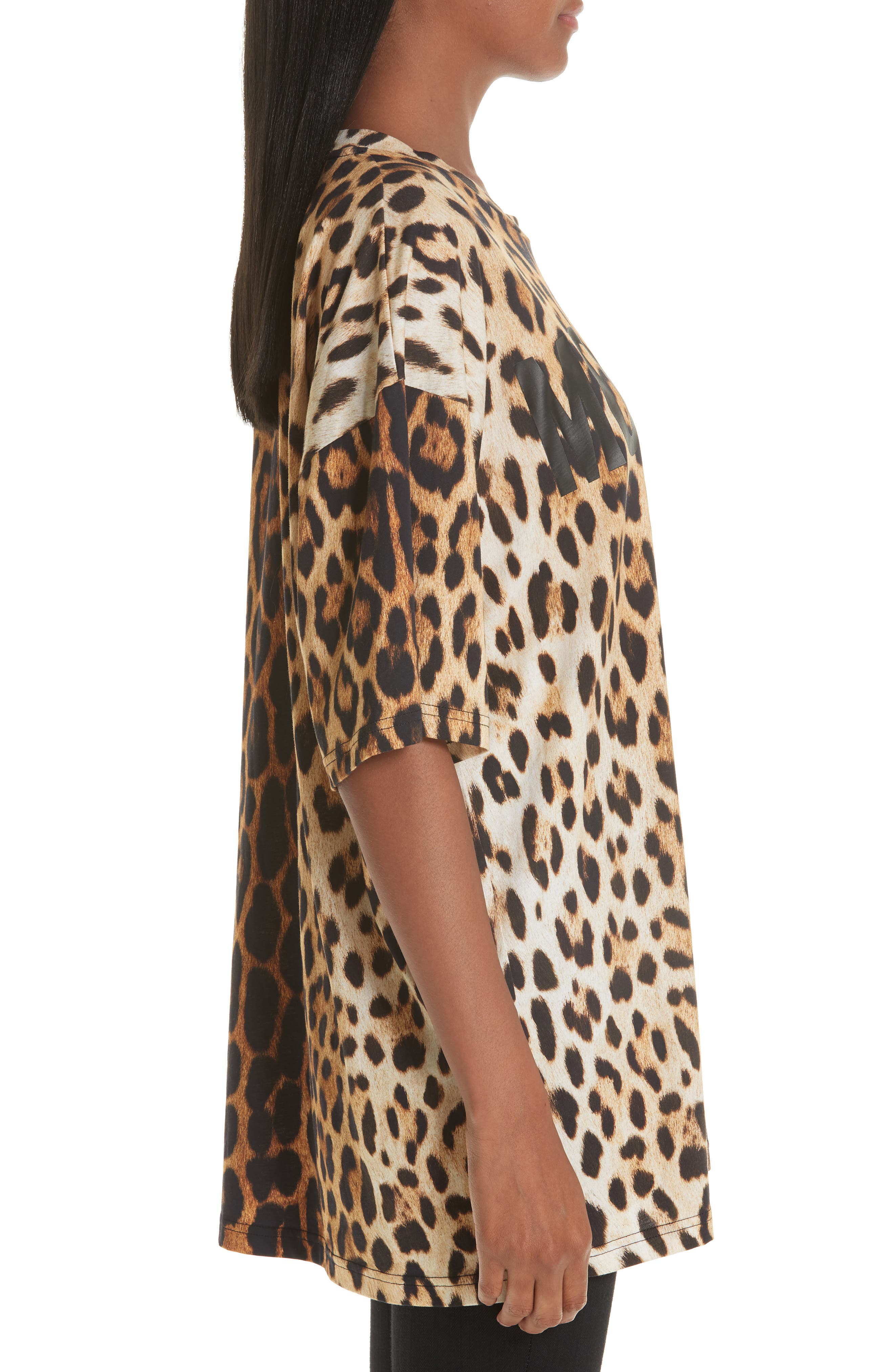 ,                             Leopard & Logo Print Oversize Tee,                             Alternate thumbnail 3, color,                             230