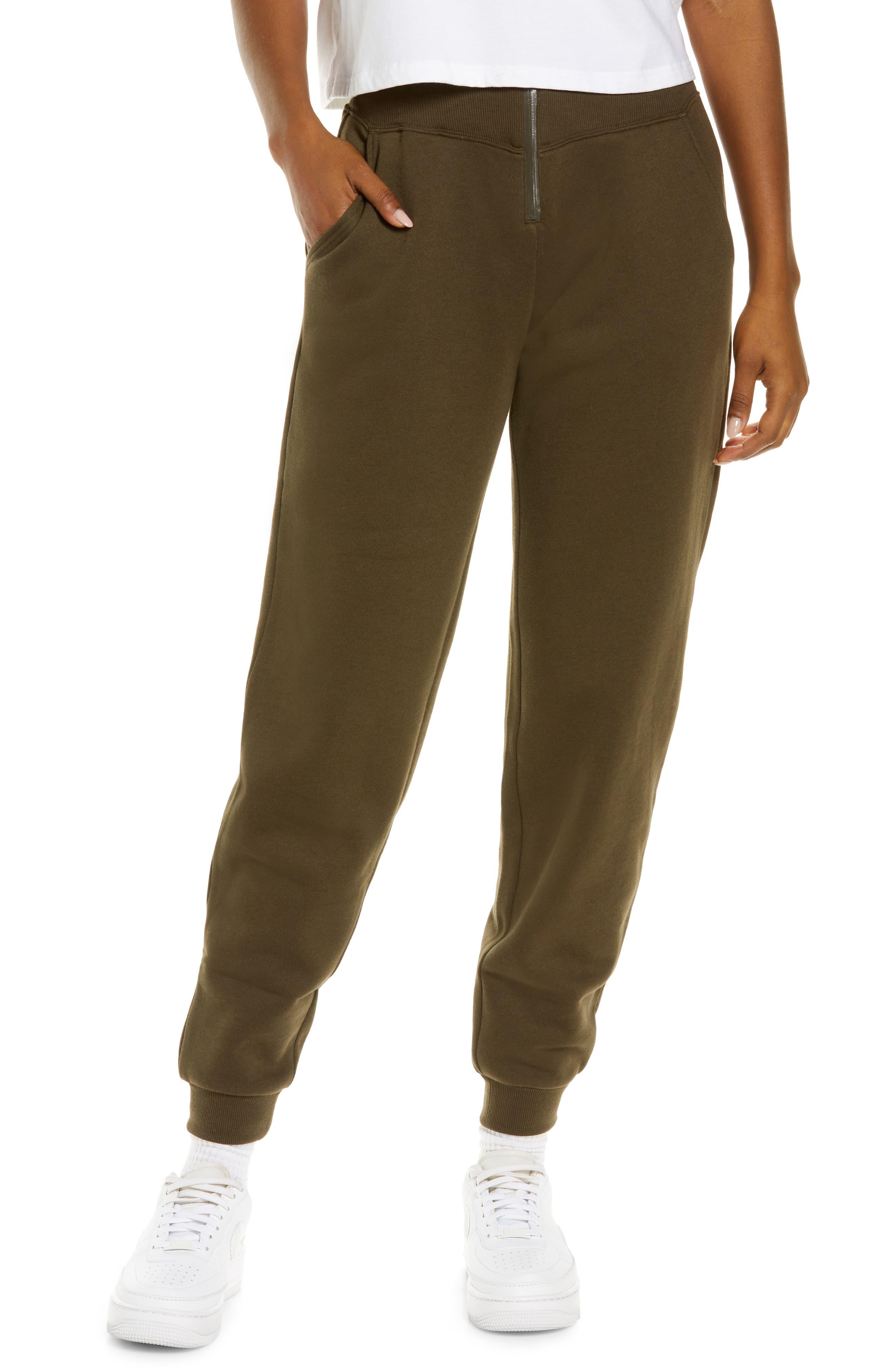 Slick Zip Front Sweatpants