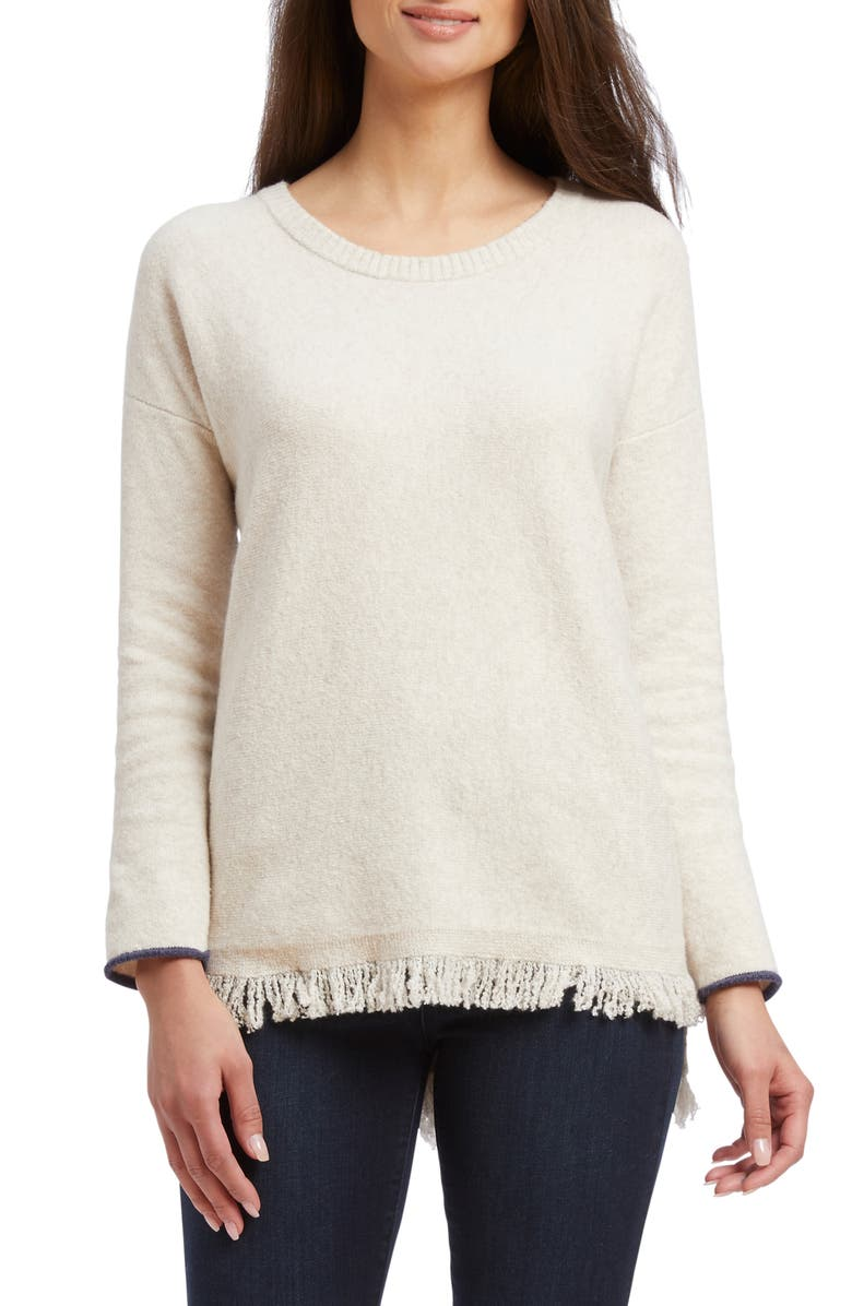 NIC+ZOE East Fringe Sweater, Main, color, NEUTRAL