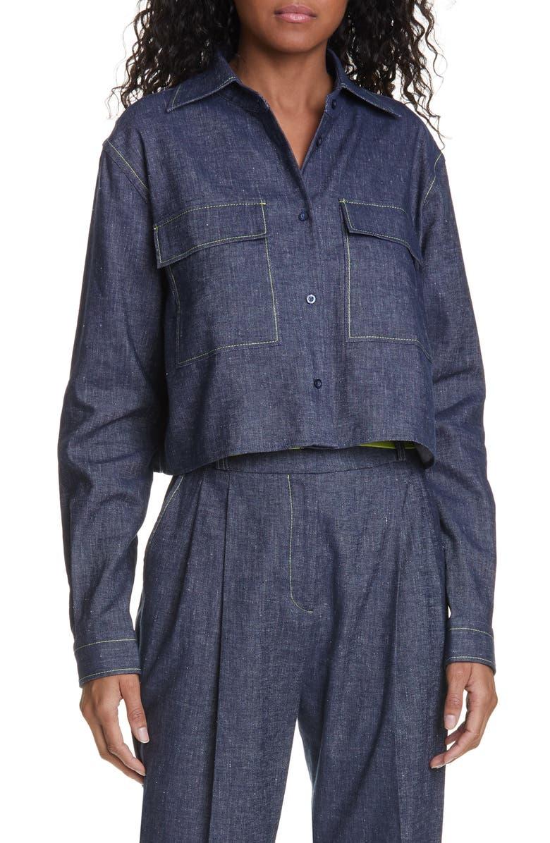 HUGO Entalis Crop Linen Blend Blouse, Main, color, 464