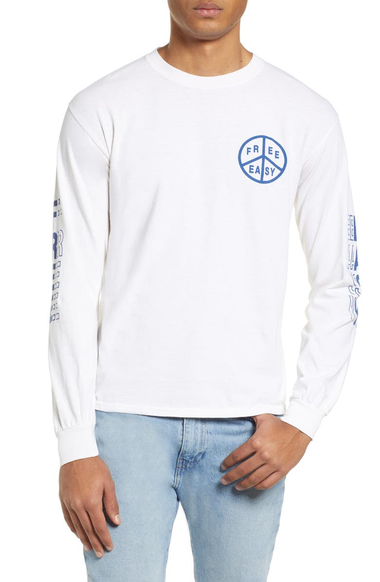 FREE & EASY Peace Long Sleeve T-Shirt, Main, color, WHITE