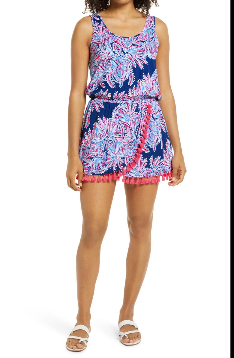 LILLY PULITZER<SUP>®</SUP> Jarrett Miss Shell Skort Romper, Main, color, OYSTER BAY BLUE/ MISS SHELL