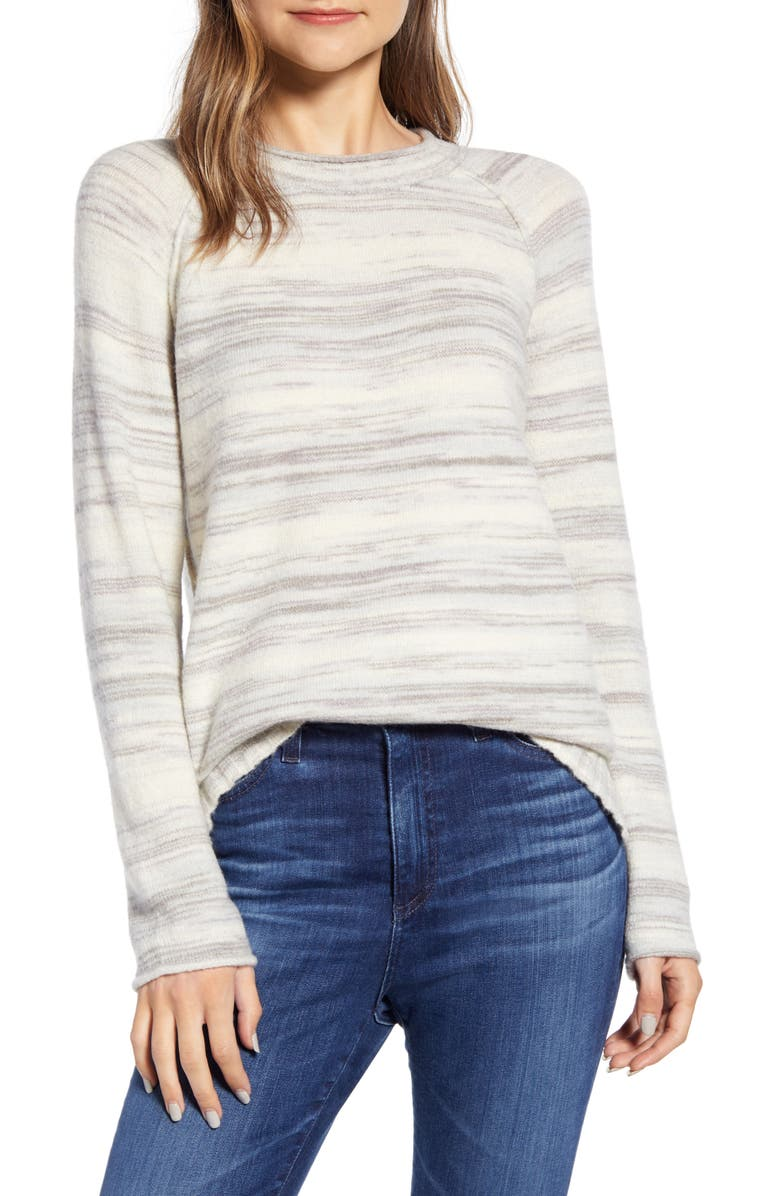 CASLON<SUP>®</SUP> Space Dye Roll Neck Sweater, Main, color, IVORY MULTI SPACEDYE