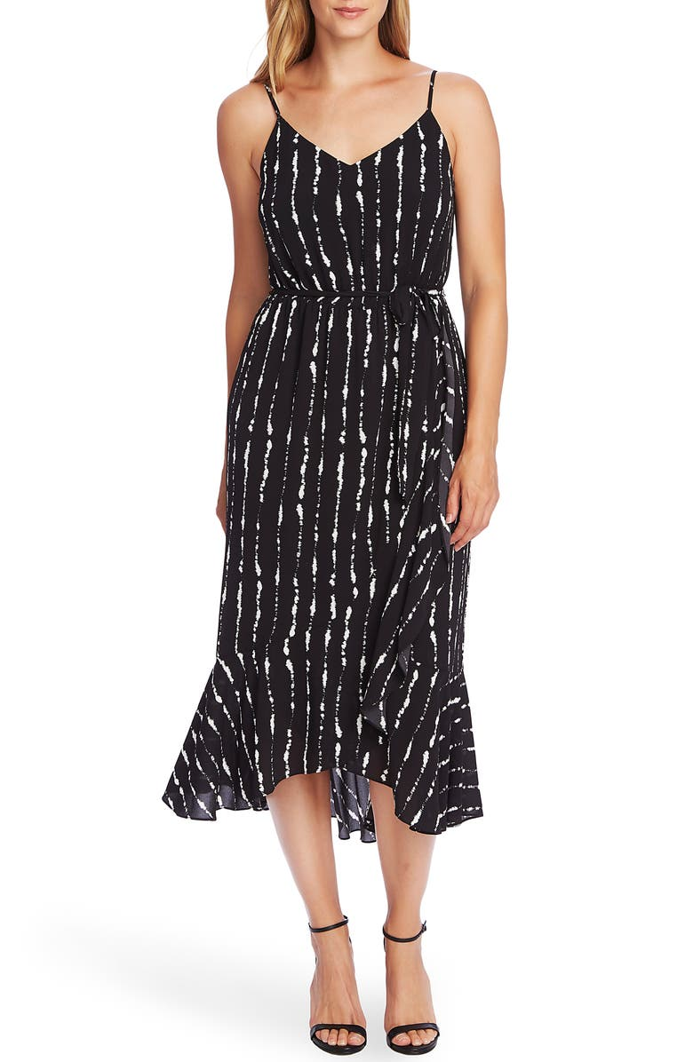 VINCE CAMUTO Belted Stripe Midi Slipdress, Main, color, RICH BLACK