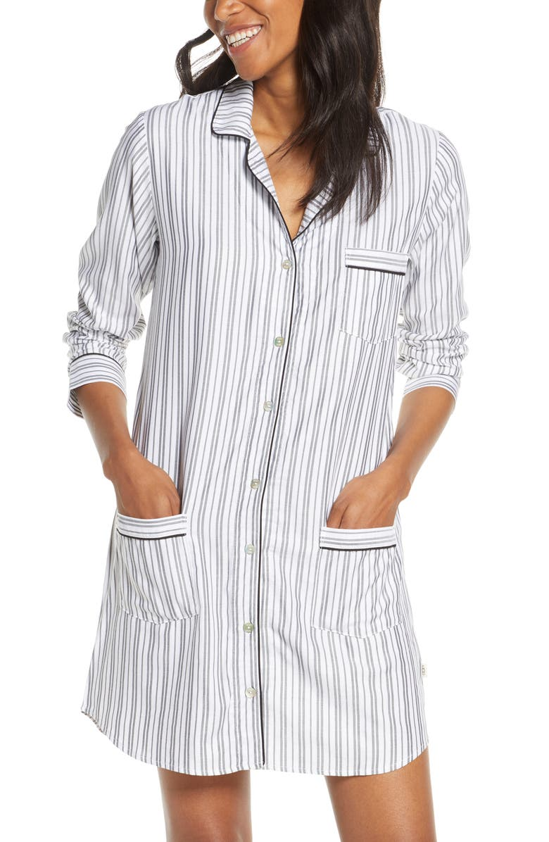 UGG<SUP>®</SUP> Stripe Flannel Sleep Shirt, Main, color, 261