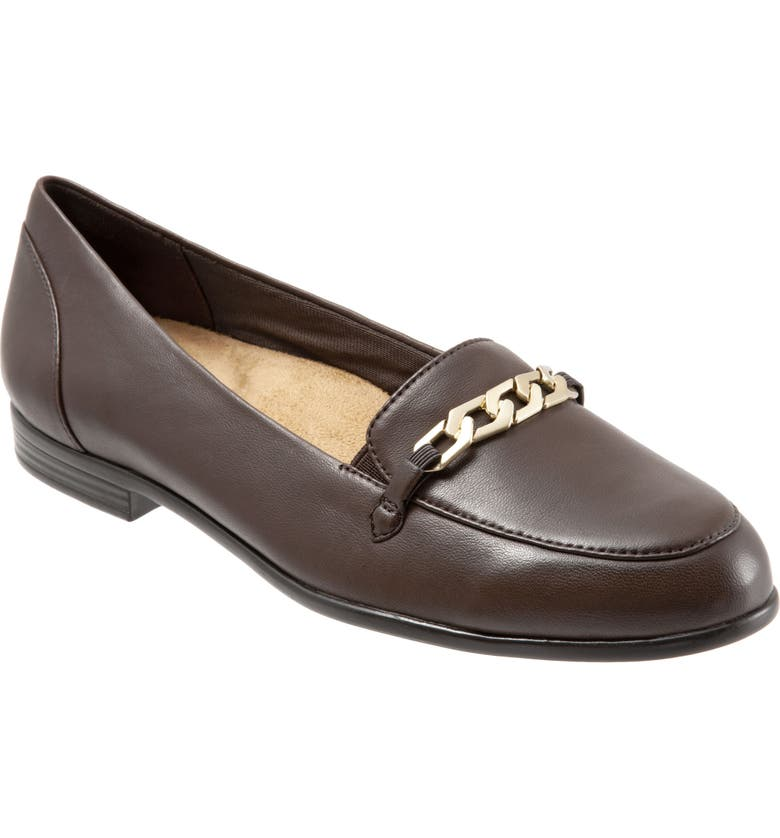 TROTTERS Anastasia Flat, Main, color, DARK BROWN LEATHER