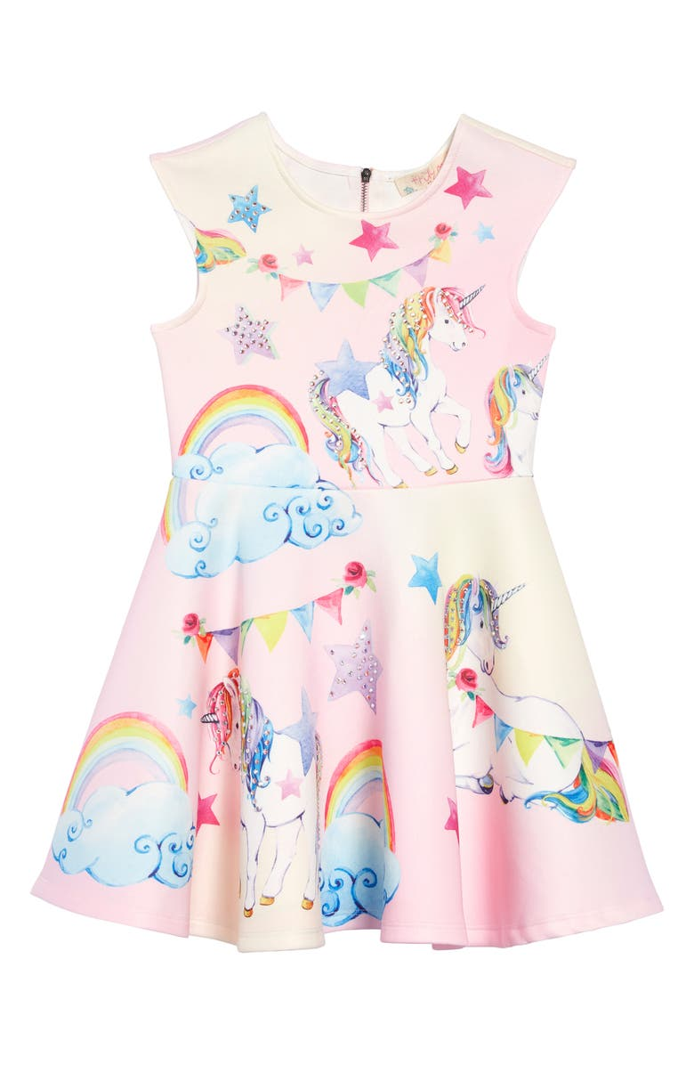 TRULY ME Unicorn Print Embellished Fit & Flare Dress, Main, color, PINK MULTI