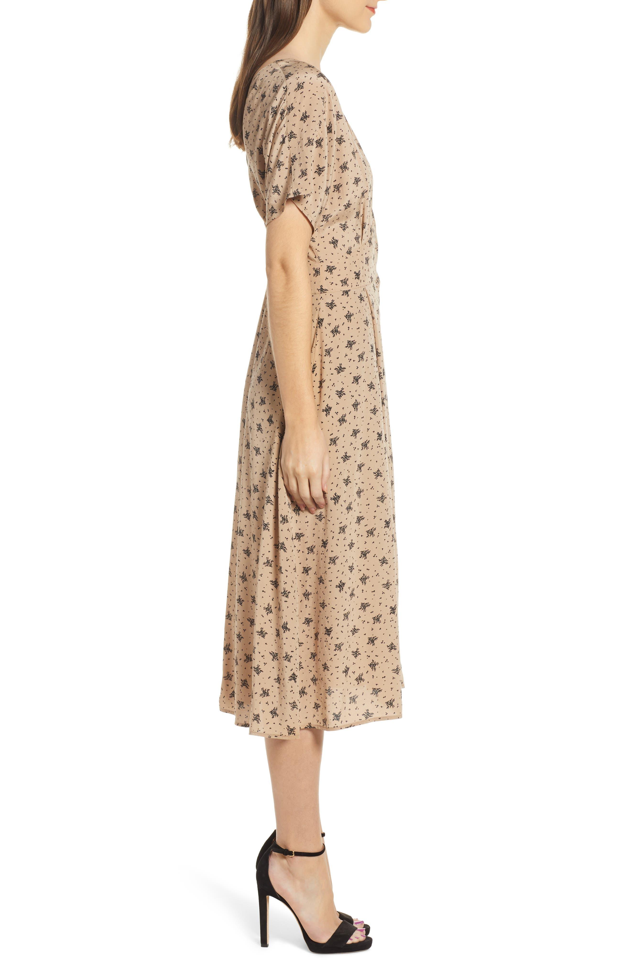 ,                             Dolman Sleeve Button Down Midi Dress,                             Alternate thumbnail 4, color,                             TAN BLACK MULTI FLORAL