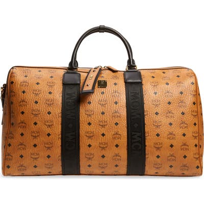 Mcm Traveler Visetos Weekend Duffel Bag - Brown
