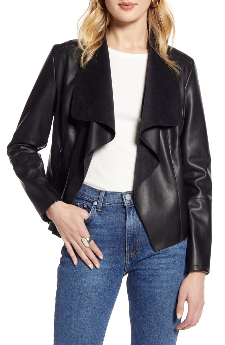 HALOGEN<SUP>®</SUP> Faux Leather Drape Front Jacket, Main, color, BLACK