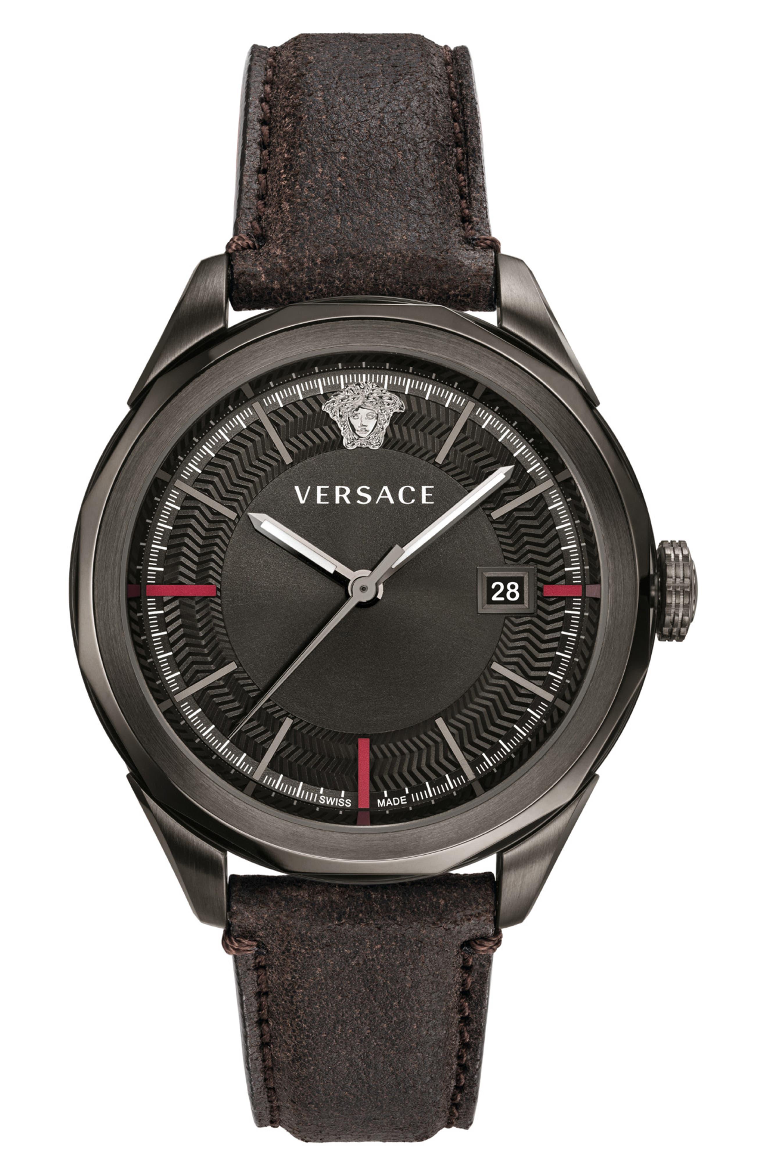 Glaze Leather Strap Watch, 43mm, Main, color, BLACK/ GUNMETAL