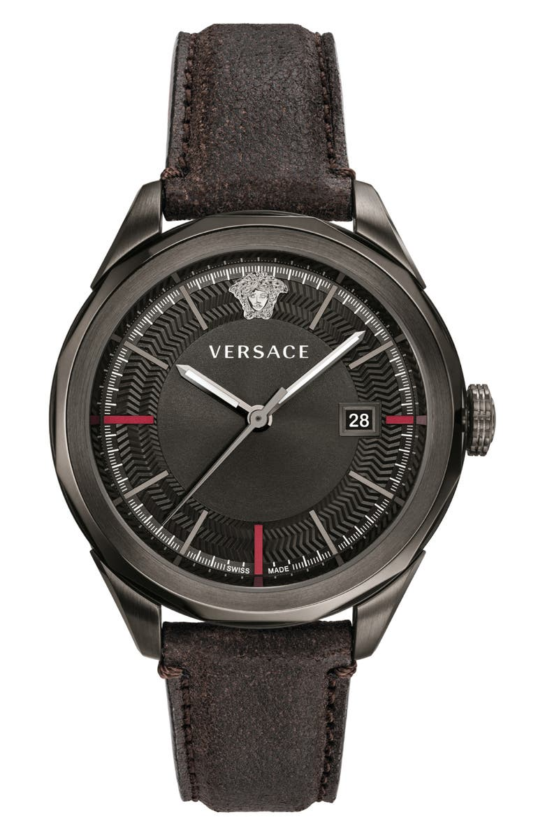 VERSACE Glaze Leather Strap Watch, 43mm, Main, color, BLACK/ GUNMETAL