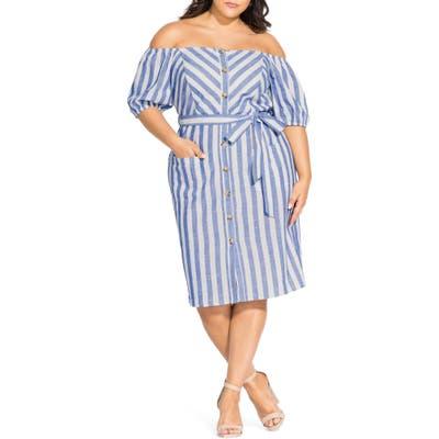 Plus Size City Chic Graphic Flow Off The Shoulder Dress, White