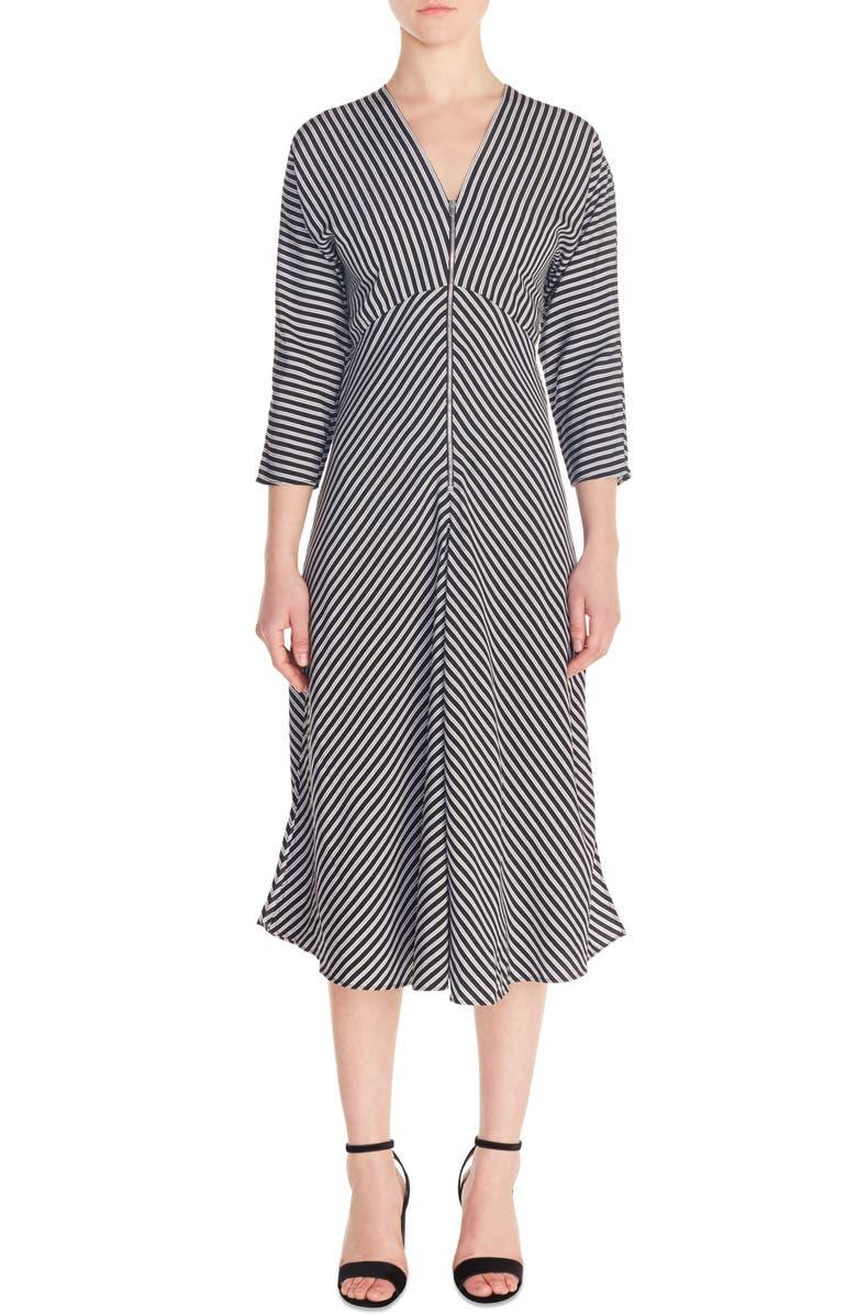 MAJE Rava Mix Stripe Midi Dress, Main, color, 001
