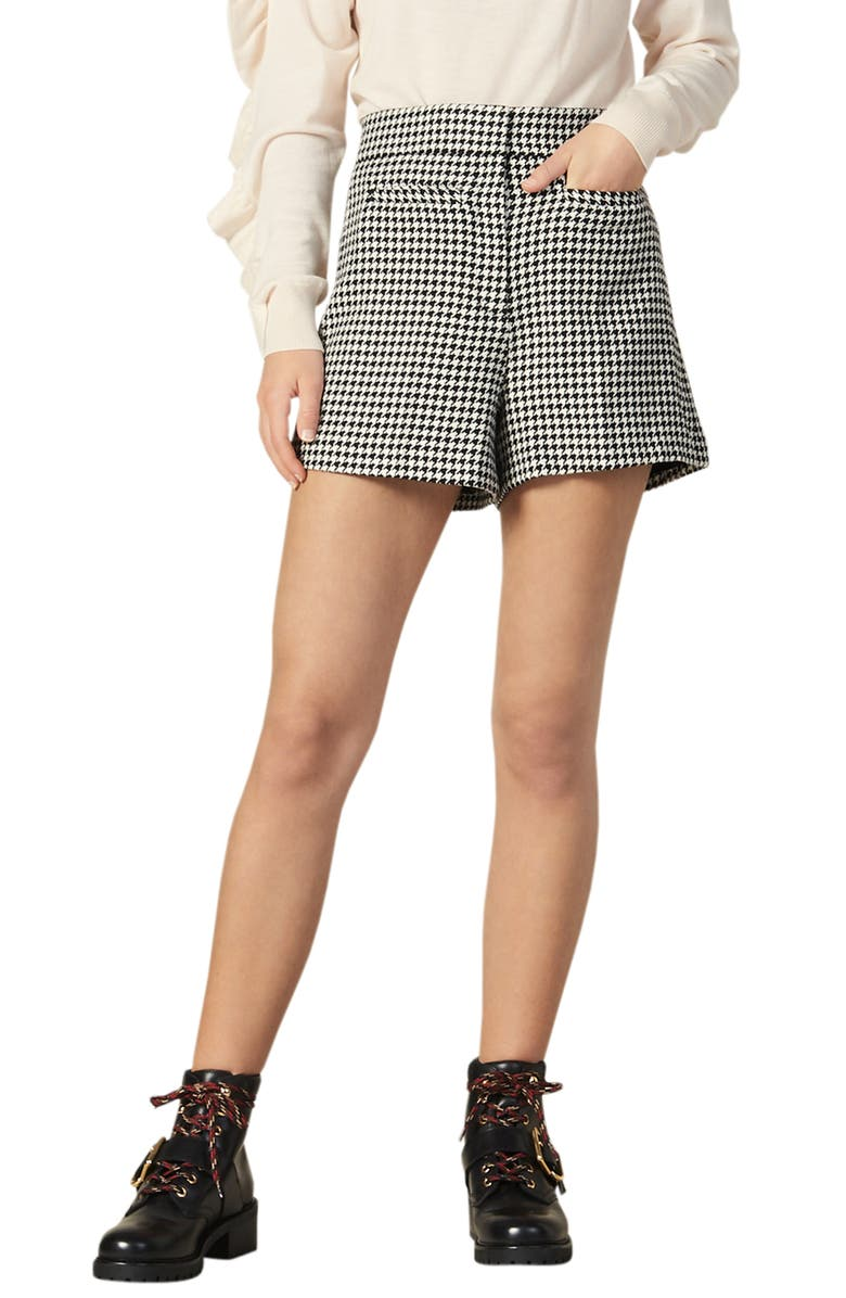 SANDRO Missey Houndstooth Check Cotton & Wool Blend Shorts, Main, color, BLACK