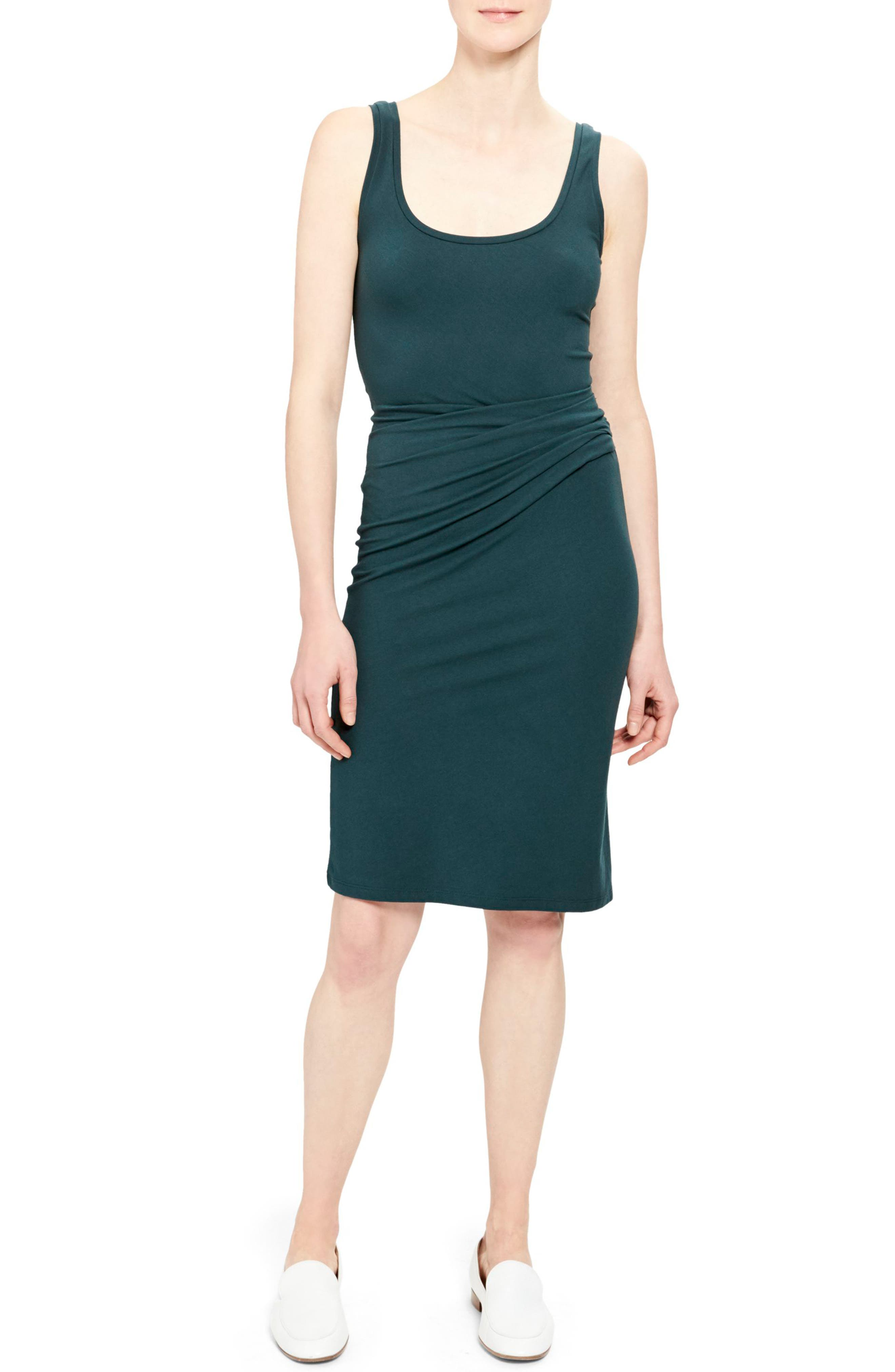 Theory Rubric Ruched Stretch Jersey Tank Dress, Green