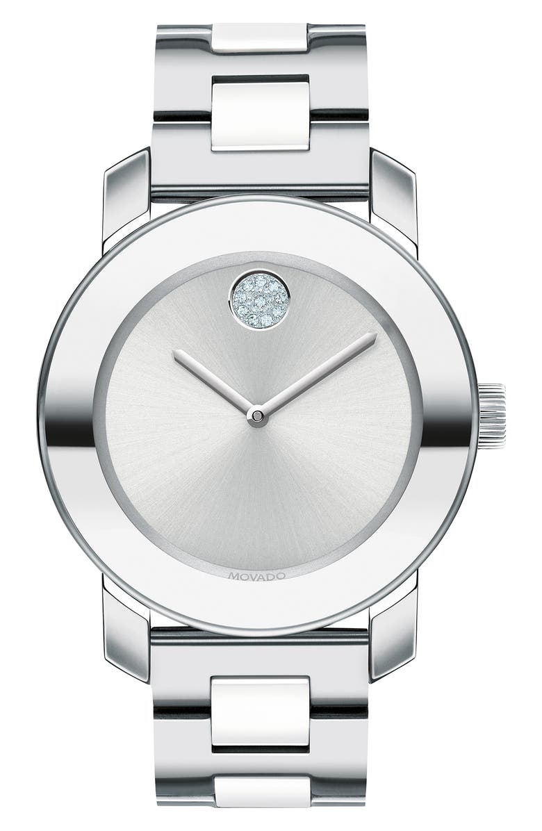 MOVADO Bold Pavé Dot Ceramic Bracelet Watch, 36mm, Main, color, SILVER