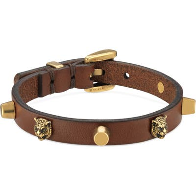 Gucci Feline Head Stud Leather Bracelet