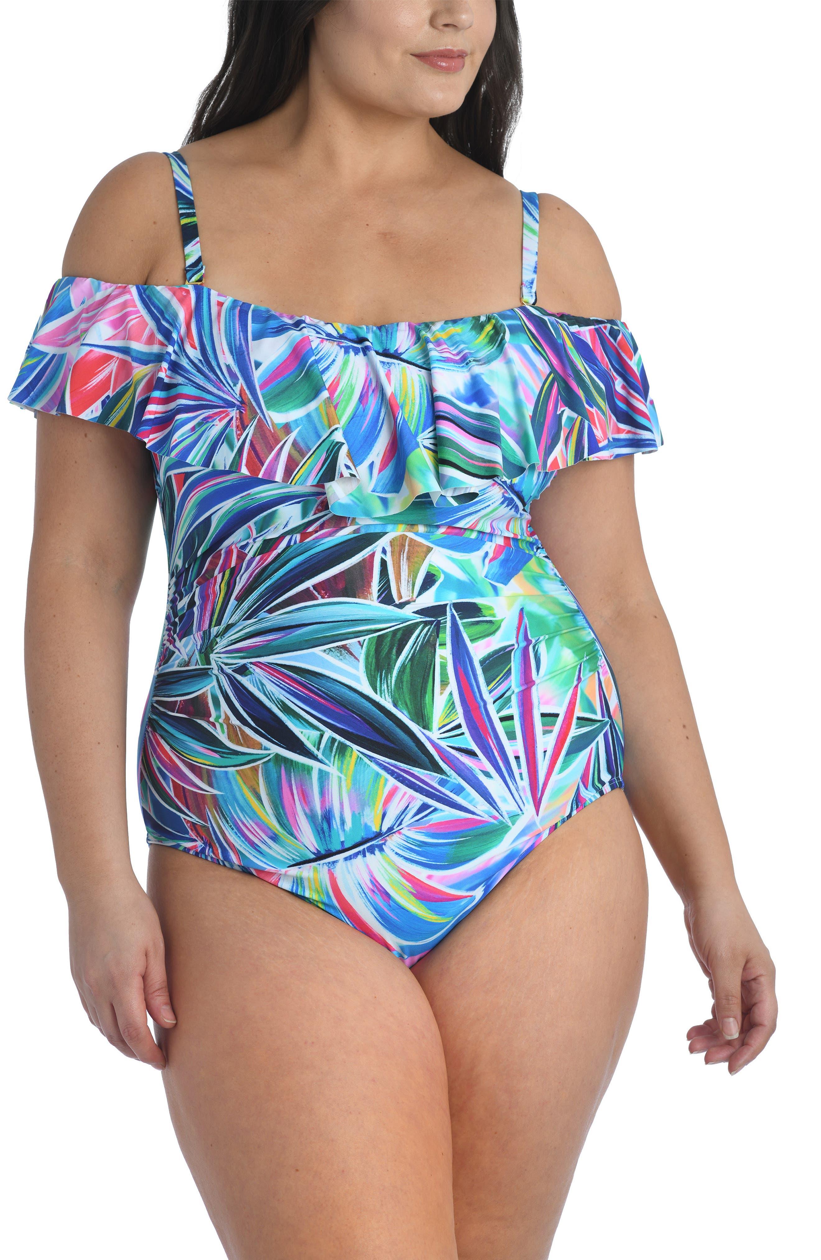 Vintage Bathing Suits   Retro Swimwear   Vintage Swimsuits Plus Size Womens La Blanca Off The Shoulder One-Piece Swimsuit Size 20W - Bluegreen $129.00 AT vintagedancer.com