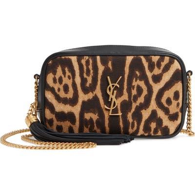Saint Laurent Mini Lou Leopard Canvas & Leather Crossbody Bag - Brown