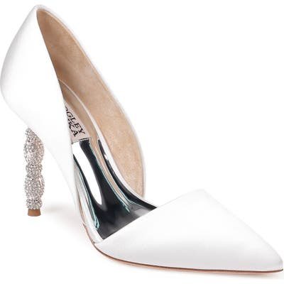 Badgley Mischka Emily Crystal Heel Pointed Toe Pump- White