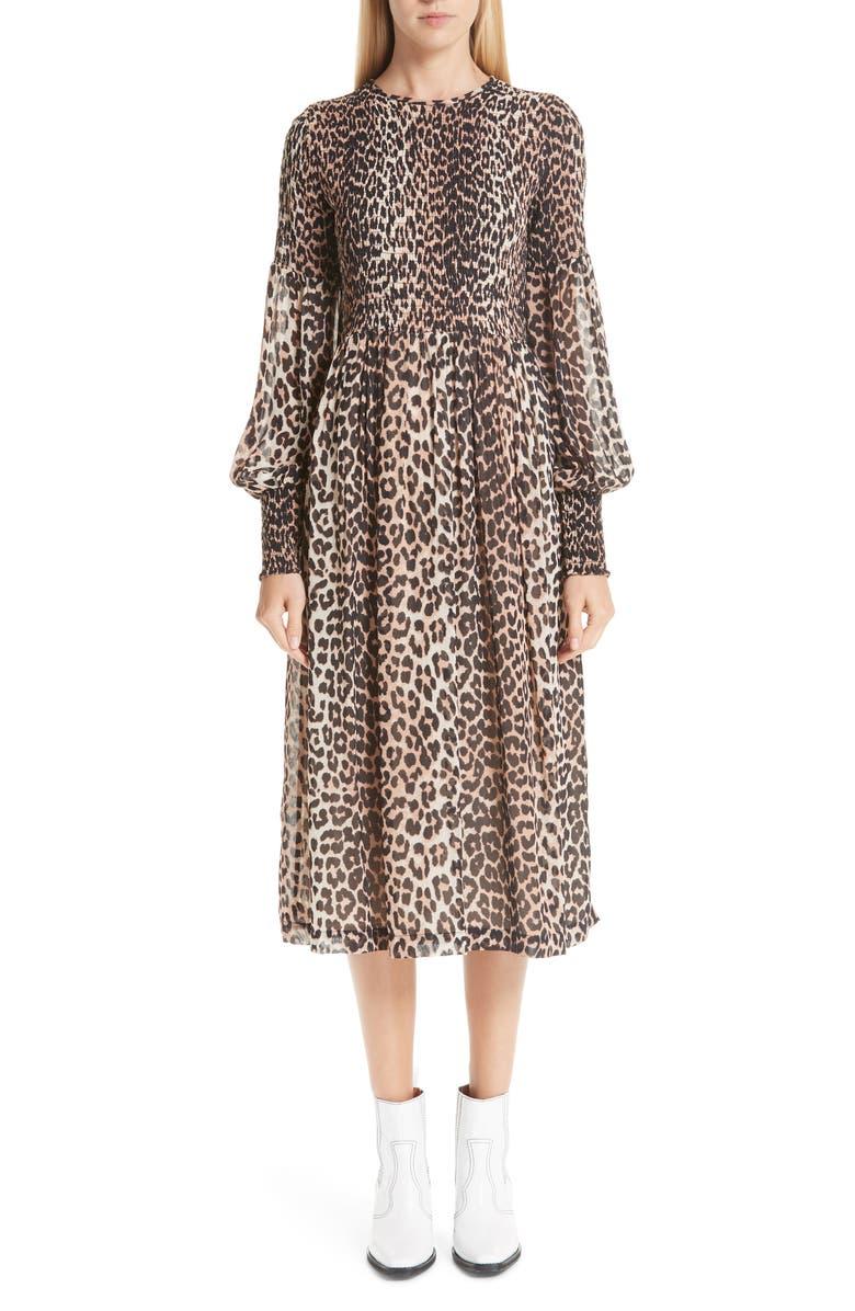 GANNI Leopard Print Georgette Midi Dress, Main, color, 200