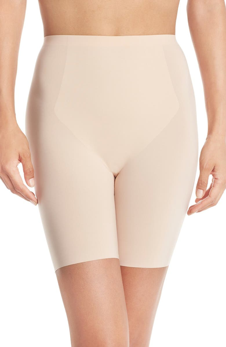 SPANX<SUP>®</SUP> Thinstincts<sup>®</sup> Mid Thigh Shaper Shorts, Main, color, SOFT NUDE