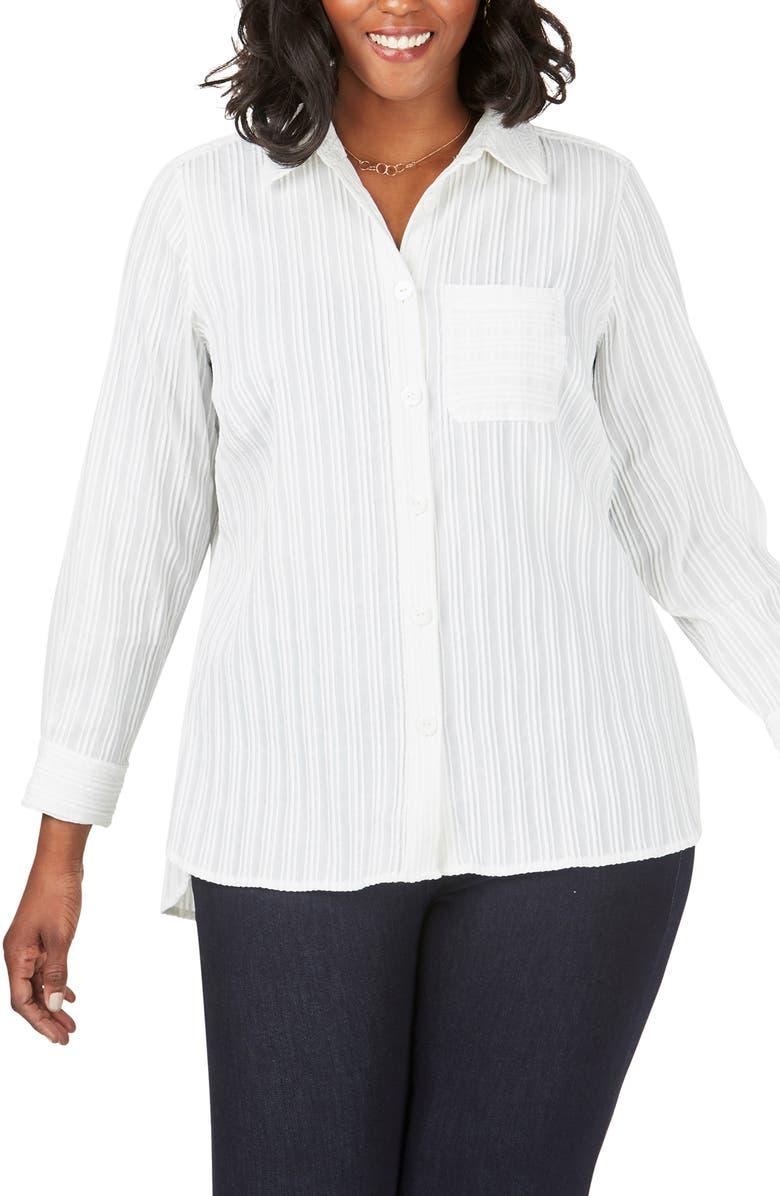 FOXCROFT Robyn Chenille Stripe Blouse, Main, color, WHITE