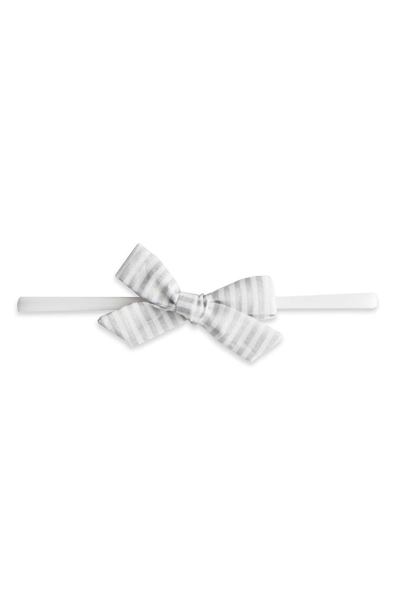 BABY BLING Bow Headband, Main, color, SILVER STRIPE