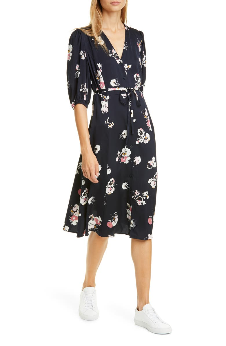 NORDSTROM SIGNATURE Button Front Stretch Silk Dress, Main, color, 410