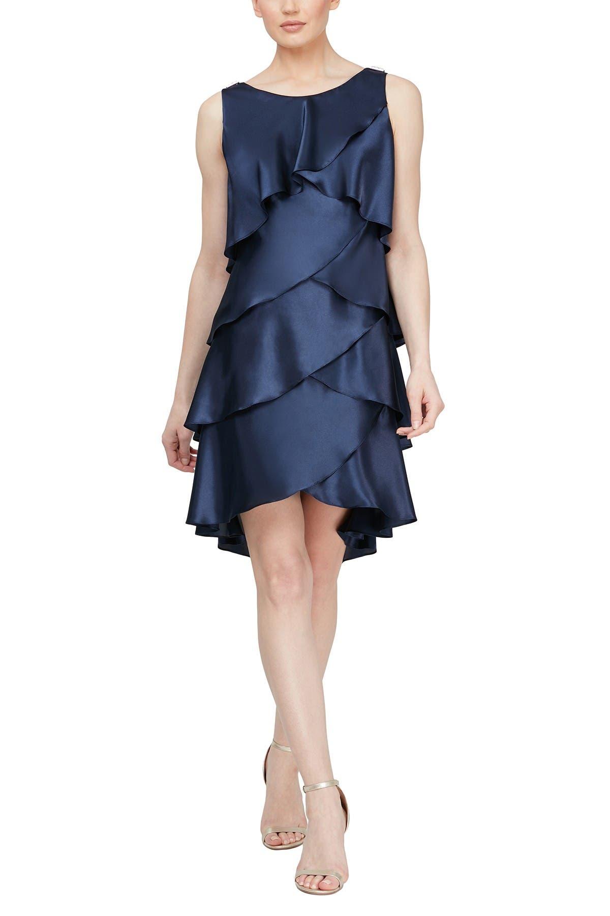 Image of SLNY Satin Tiered Petal Shift Dress