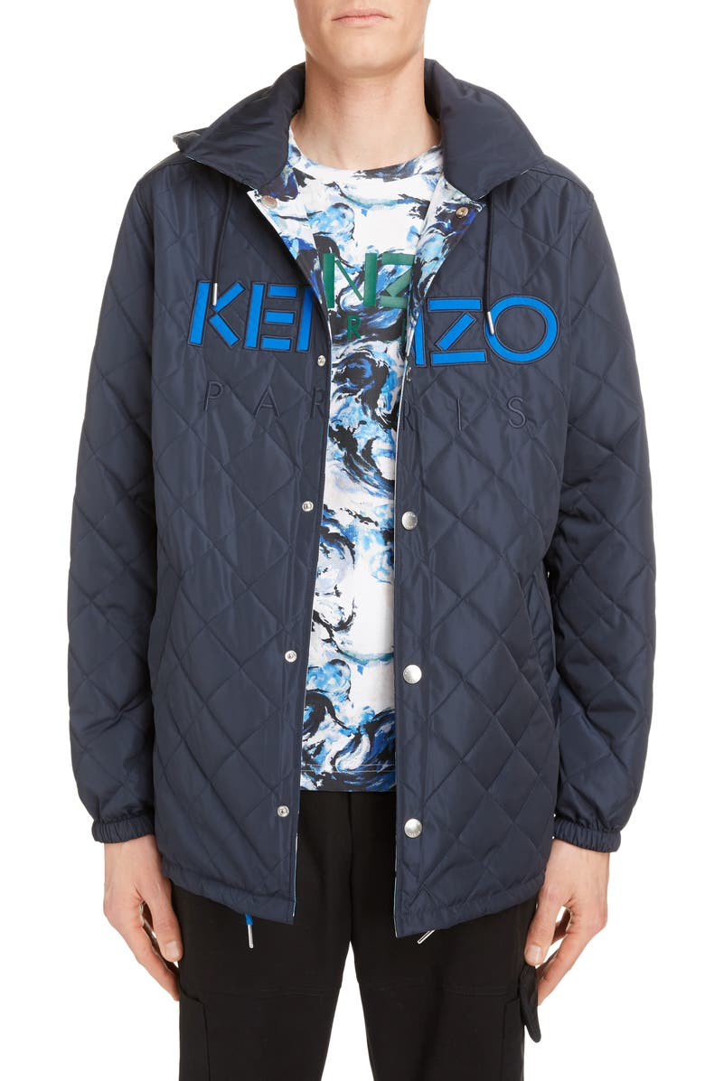 KENZO Coach Reversible Hooded Jacket, Main, color, NAVY BLUE
