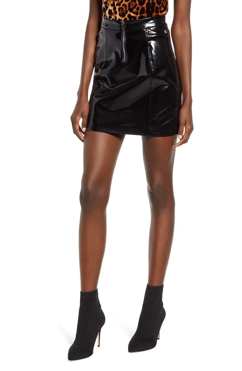 BLANKNYC Shiny Faux Leather Miniskirt, Main, color, 001