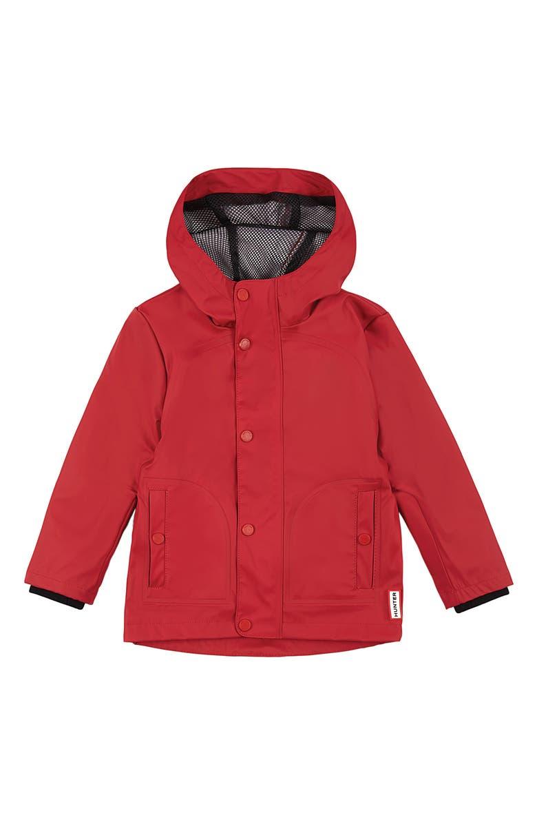 HUNTER Original Rubberized Waterproof Hooded Raincoat, Main, color, MILITARY RED
