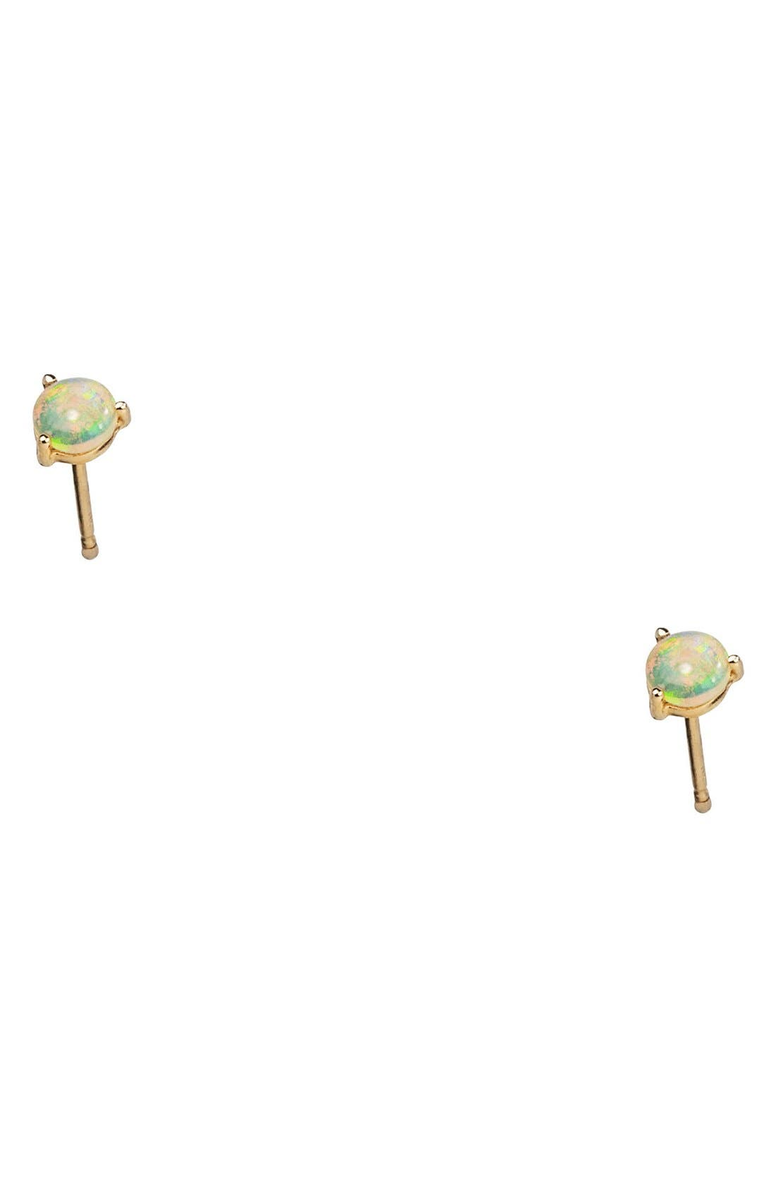 ,                             Small Opal Stud Earrings,                             Alternate thumbnail 3, color,                             YELLOW GOLD