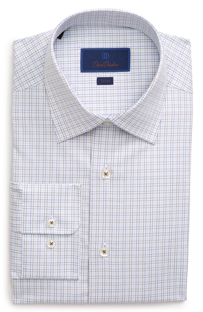 DAVID DONAHUE Trim Fit Plaid Dress Shirt, Main, color, CHOCOLATE
