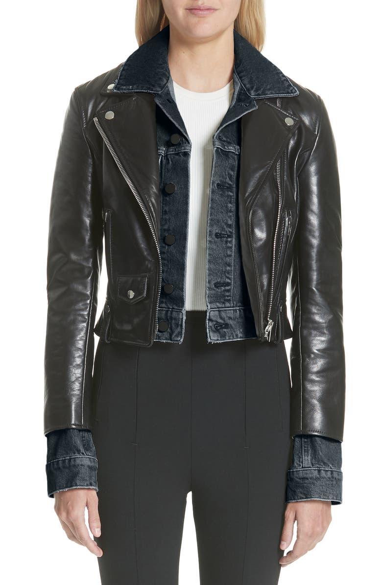 ALEXANDER WANG Denim & Leather Layered Jacket, Main, color, 001