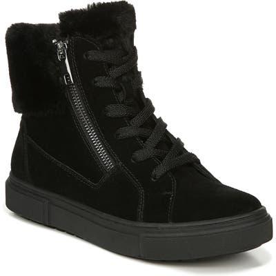 Naturalizer Baker Faux Fur Trim High Top Sneaker- Black
