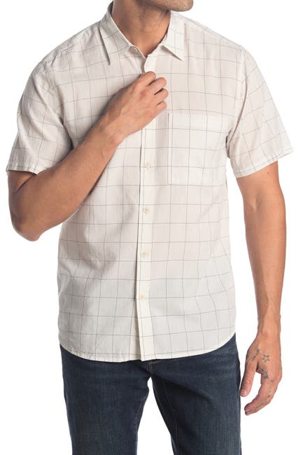 Image of BLDWN Raymoore Short Sleeve Grid Print Slim Fit Shirt