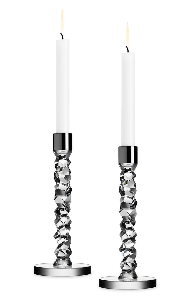 ORREFORS Carat Set of 2 Candlesticks, Main, color, CLEAR
