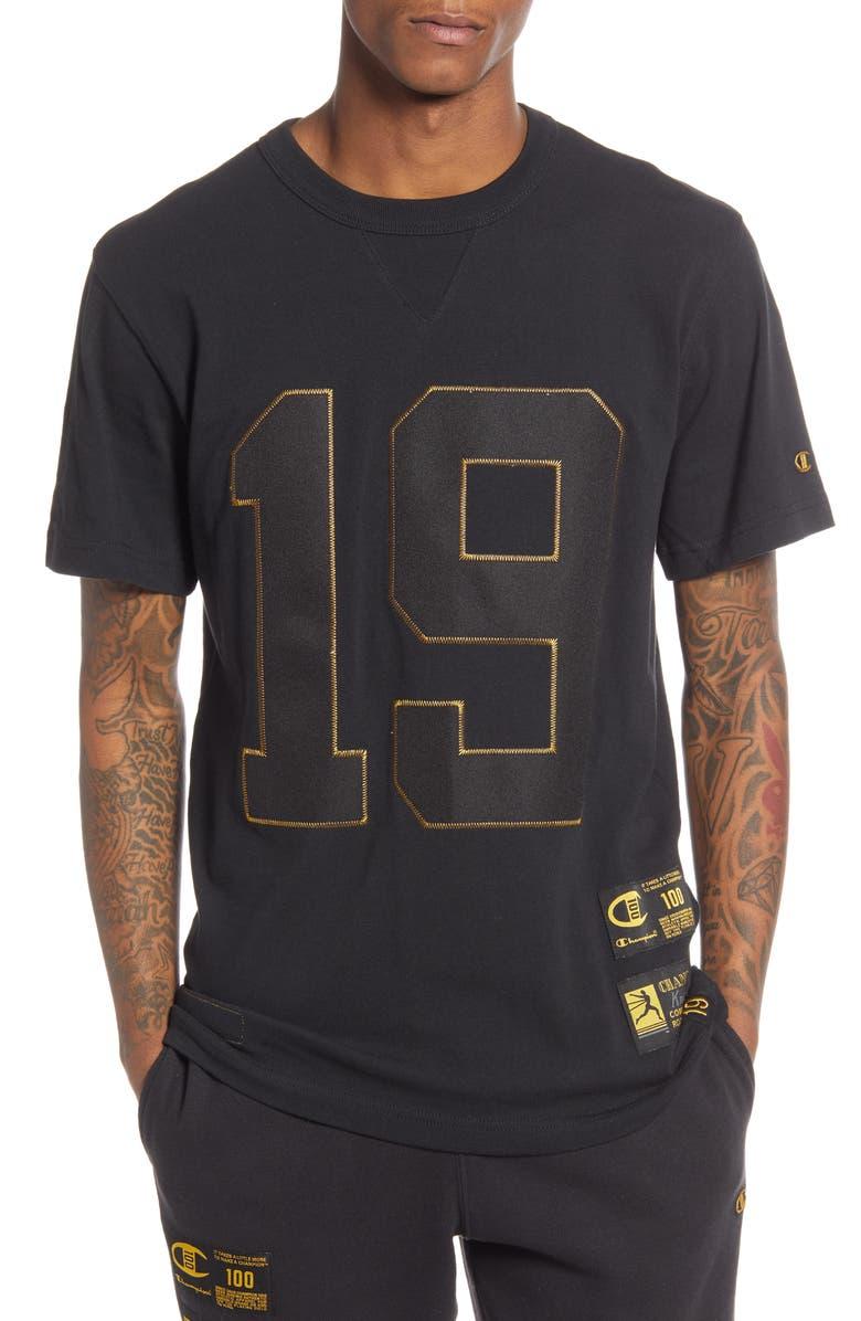 CHAMPION Century Collection Gold 19 T-Shirt, Main, color, BLACK