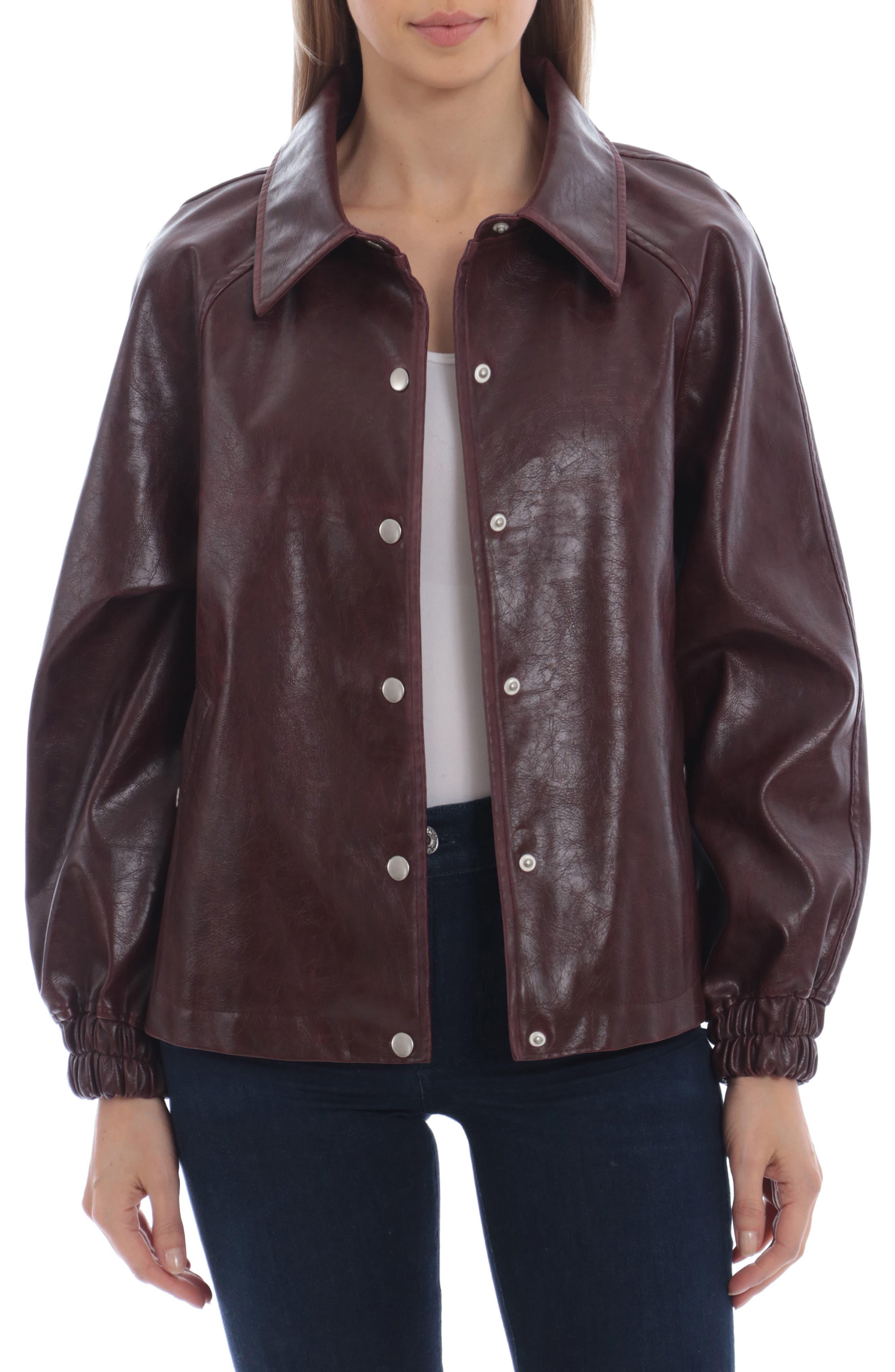 Oversize Faux Leather Baseball Jacket