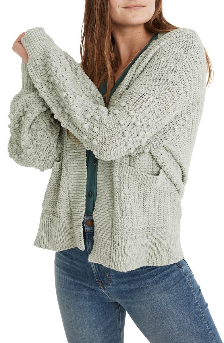 MADEWELL Bobble Cardigan Sweater, Main, color, SAGE MIST