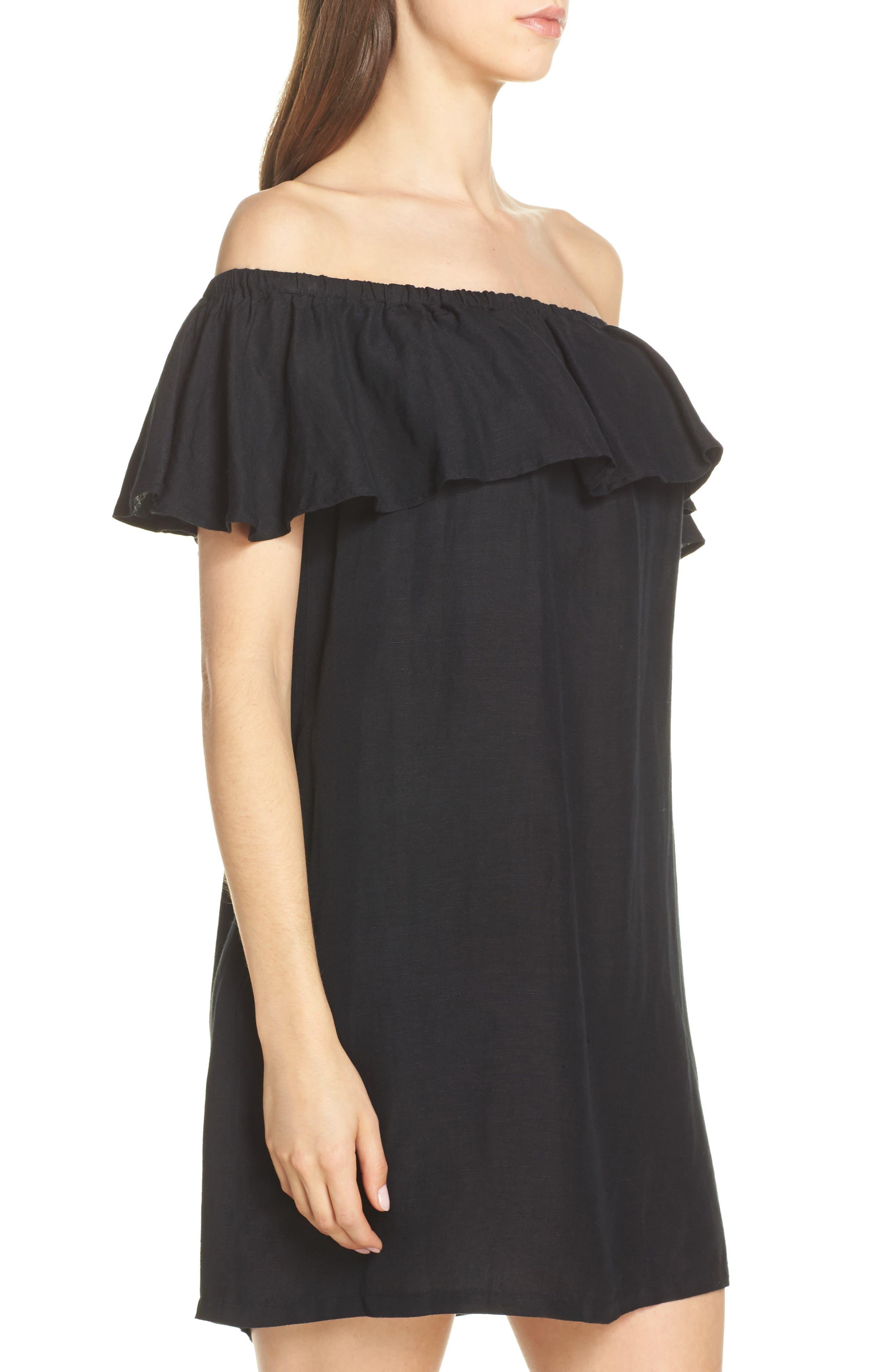 ,                             Off the Shoulder Cover-Up Dress,                             Alternate thumbnail 4, color,                             002
