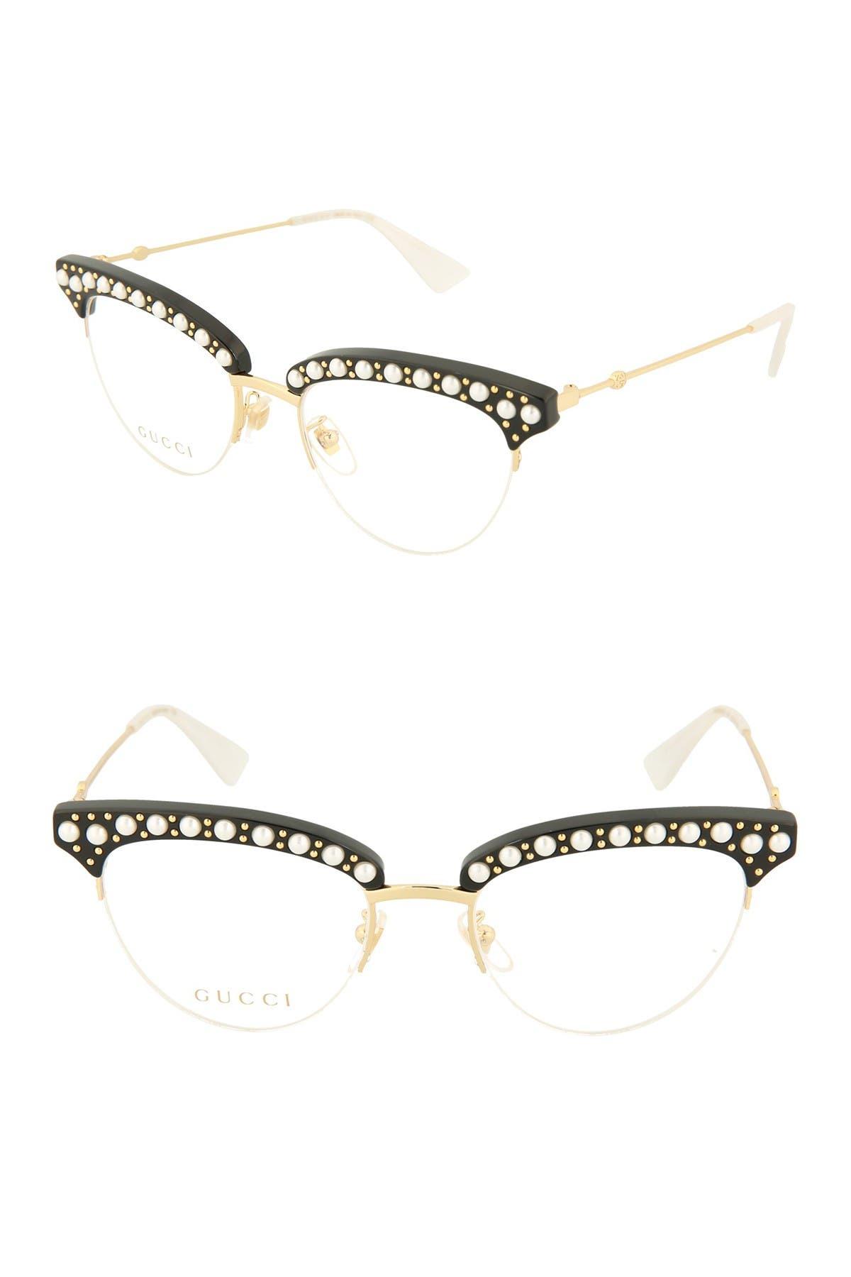 Image of GUCCI 50mm Embellished Cat Eye Optical Glasses