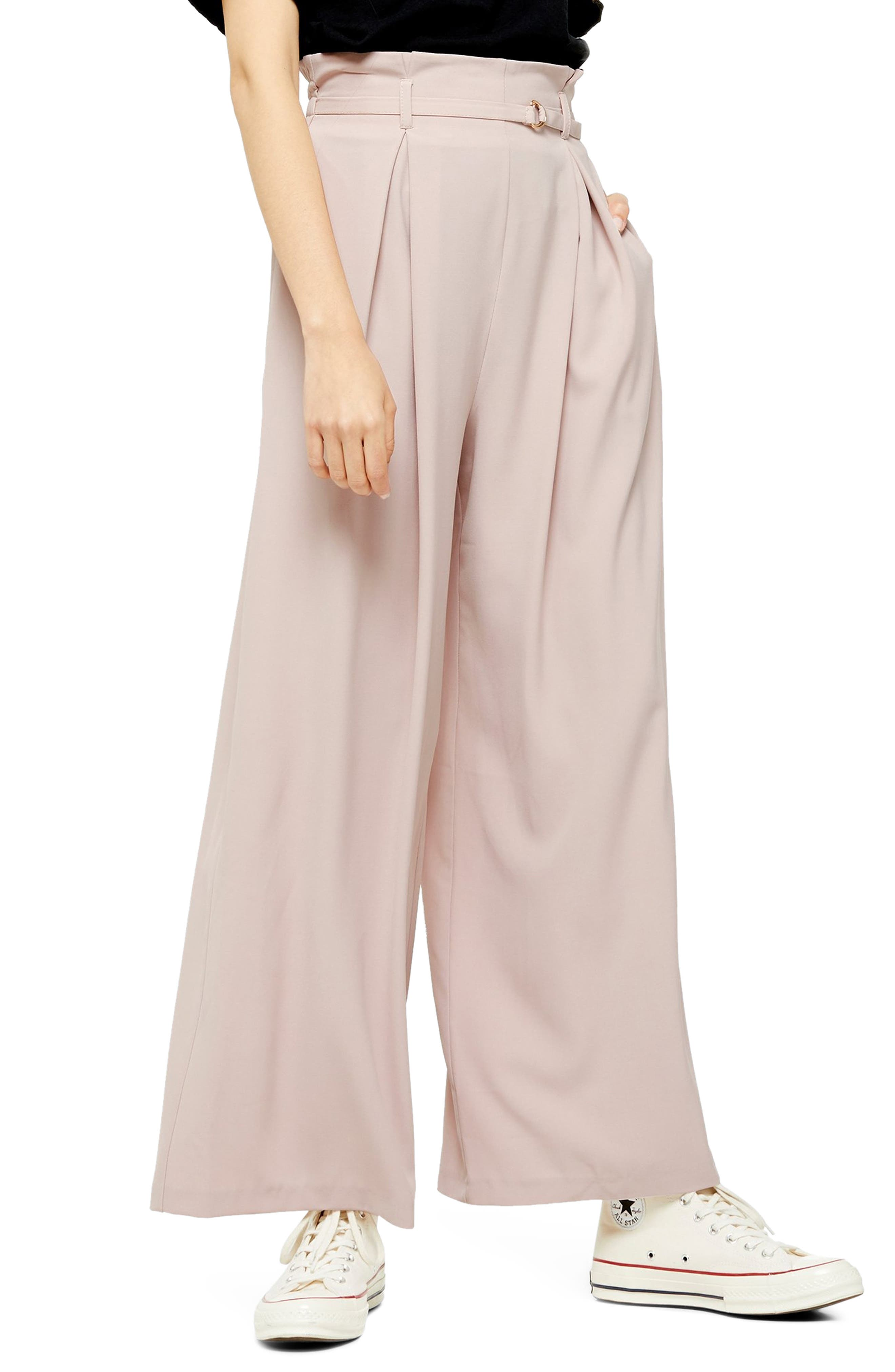 1930s Wide Leg Pants and Beach Pajamas Womens Topshop Belted Wide Leg Trousers Size 8 US fits like 6-8 - Pink $90.00 AT vintagedancer.com